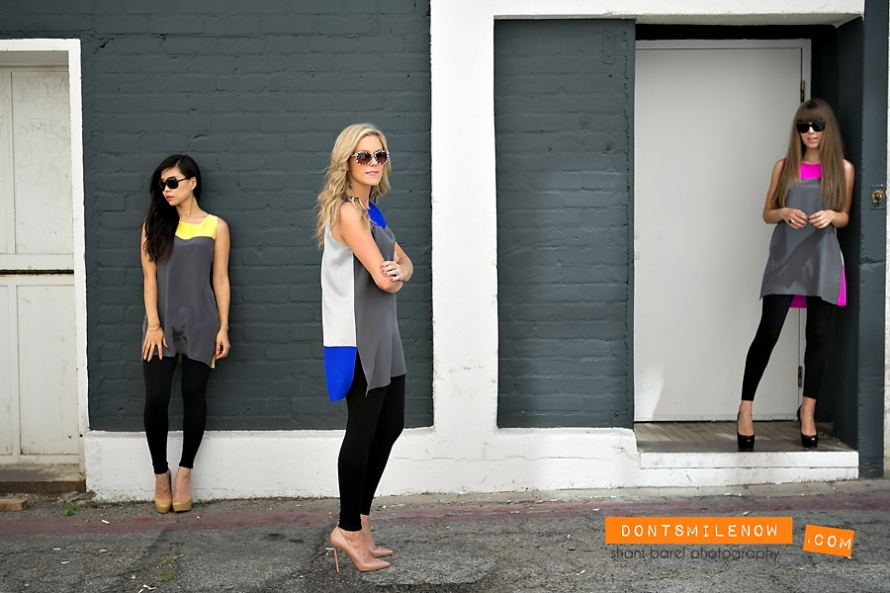 Jigsaw Color Block Tunics modeld by Jenny, Whitney and Jenny fashion bloggers